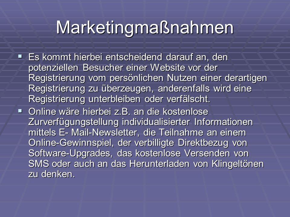 Marketingmaßnahmen  Es kommt hierbei entscheidend darauf an, den potenziellen Besucher einer Website vor der Registrierung vom persönlichen Nutzen ei