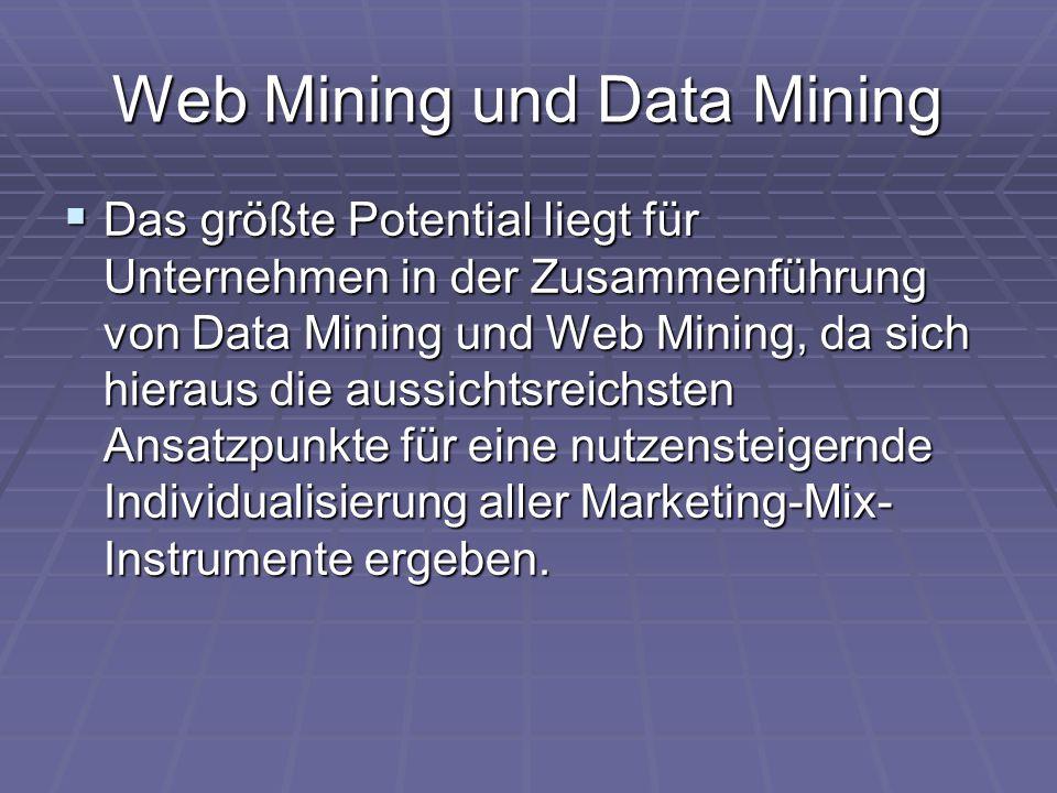 Web Mining und Data Mining  Das größte Potential liegt für Unternehmen in der Zusammenführung von Data Mining und Web Mining, da sich hieraus die aus