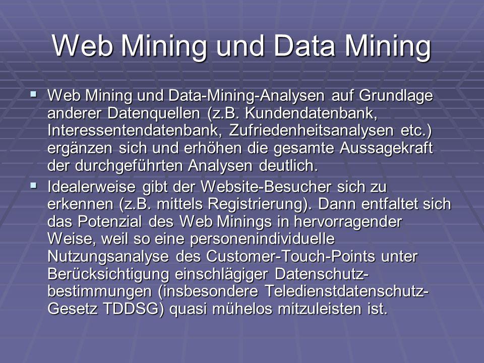 Web Mining und Data Mining  Web Mining und Data-Mining-Analysen auf Grundlage anderer Datenquellen (z.B. Kundendatenbank, Interessentendatenbank, Zuf