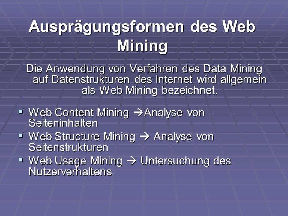Ausprägungsformen des Web Mining Die Anwendung von Verfahren des Data Mining auf Datenstrukturen des Internet wird allgemein als Web Mining bezeichnet