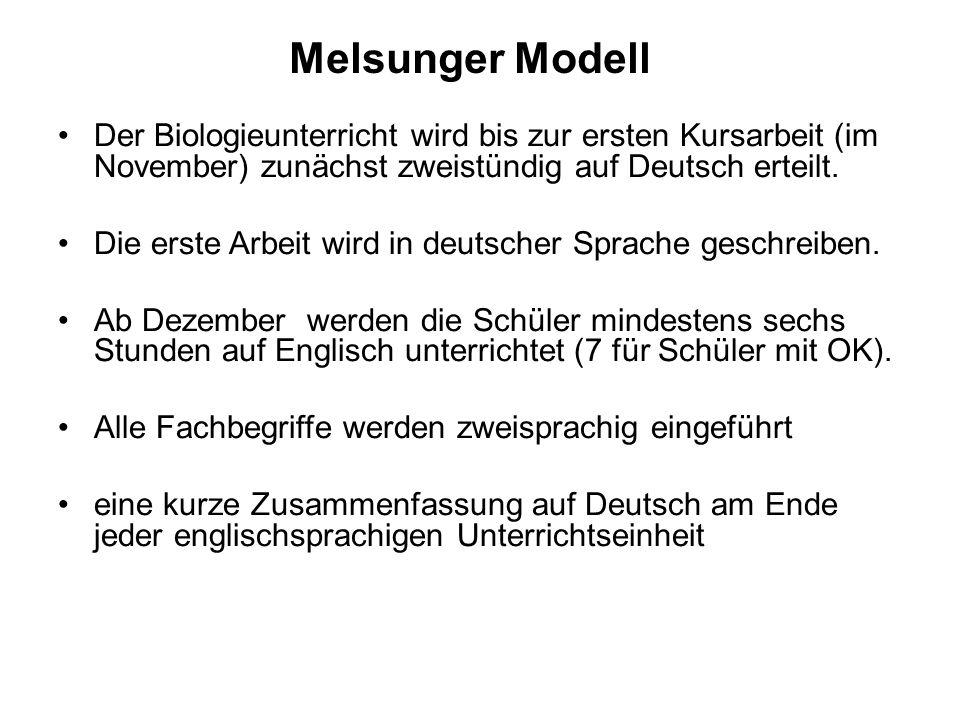 Melsunger Modell Der Biologieunterricht wird bis zur ersten Kursarbeit (im November) zunächst zweistündig auf Deutsch erteilt.