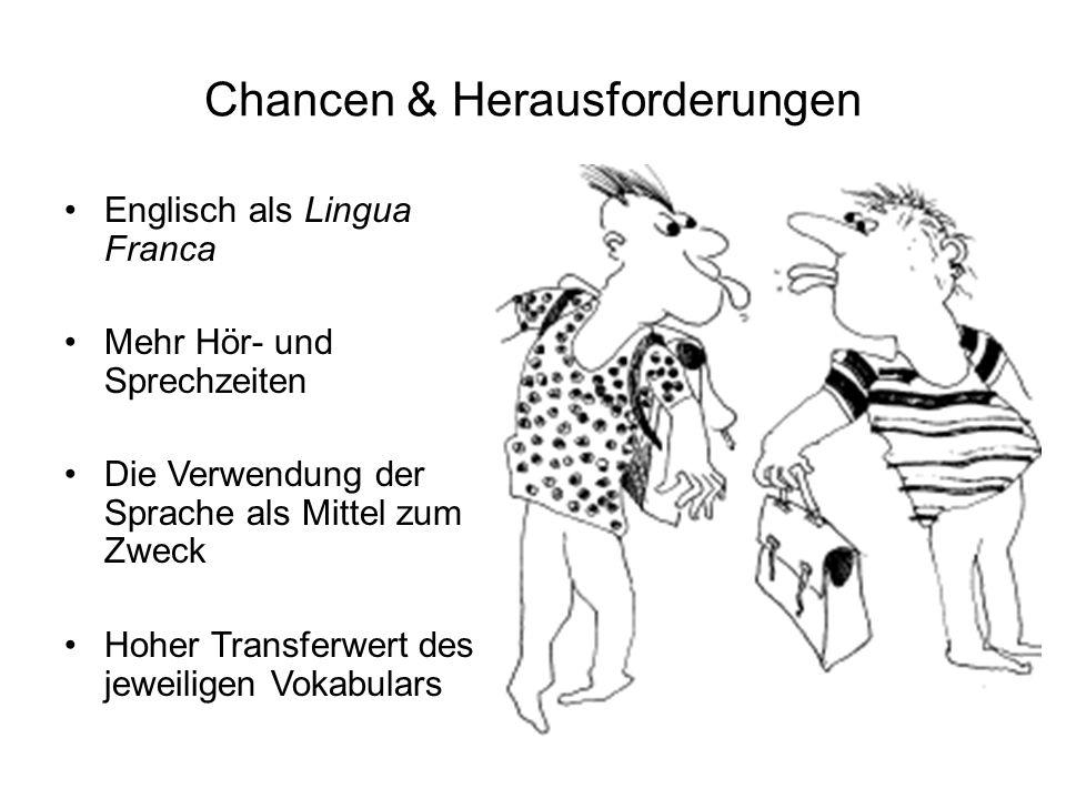 Chancen & Herausforderungen Englisch als Lingua Franca Mehr Hör- und Sprechzeiten Die Verwendung der Sprache als Mittel zum Zweck Hoher Transferwert des jeweiligen Vokabulars