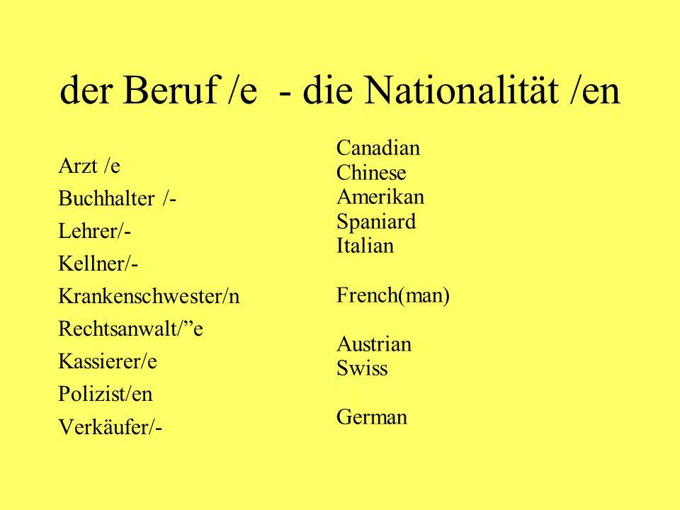 Deutschland der Deutsche (masc.) die Deutsche (fem.) die Deutschen (pl.) Ich bin Deutscher.