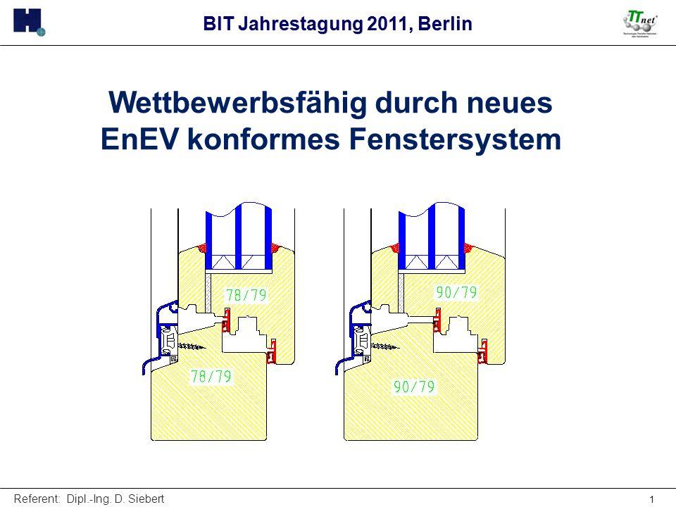 Referent: Dipl.-Ing. D. Siebert 1 Wettbewerbsfähig durch neues EnEV konformes Fenstersystem BIT Jahrestagung 2011, Berlin