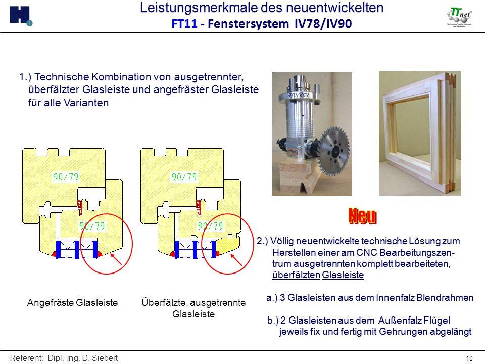 Referent: Dipl.-Ing. D. Siebert 10 Leistungsmerkmale des neuentwickelten FT11 - Fenstersystem IV78/IV90 1.) Technische Kombination von ausgetrennter,