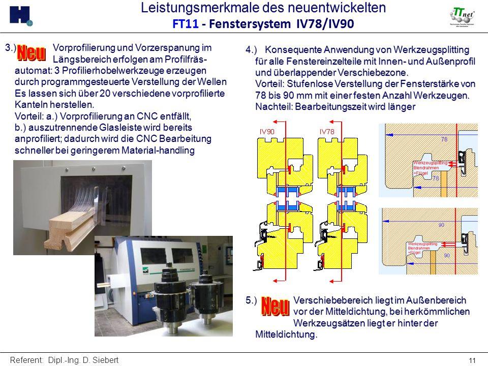 Referent: Dipl.-Ing. D. Siebert 11 3.) Vorprofilierung und Vorzerspanung im Längsbereich erfolgen am Profilfräs- automat: 3 Profilierhobelwerkzeuge er