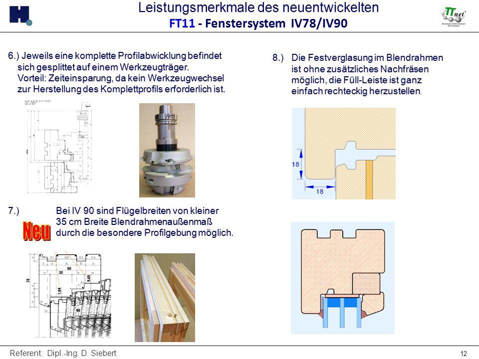 Referent: Dipl.-Ing. D. Siebert 12 6.) Jeweils eine komplette Profilabwicklung befindet sich gesplittet auf einem Werkzeugträger. Vorteil: Zeiteinspar