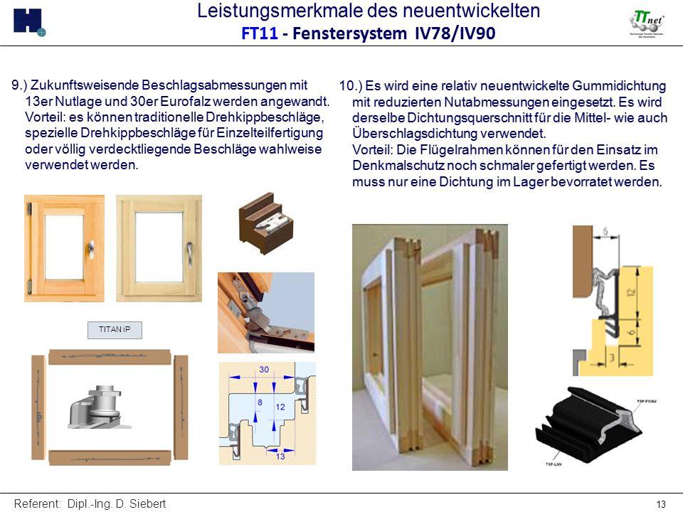 Referent: Dipl.-Ing. D. Siebert 13 TITAN iP 9.) Zukunftsweisende Beschlagsabmessungen mit 13er Nutlage und 30er Eurofalz werden angewandt. Vorteil: es