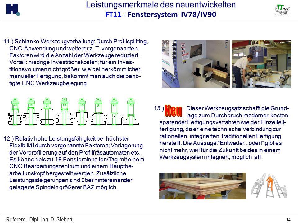 Referent: Dipl.-Ing. D. Siebert 14 11.) Schlanke Werkzeugvorhaltung: Durch Profilsplitting, CNC-Anwendung und weiterer z. T. vorgenannten Faktoren wir
