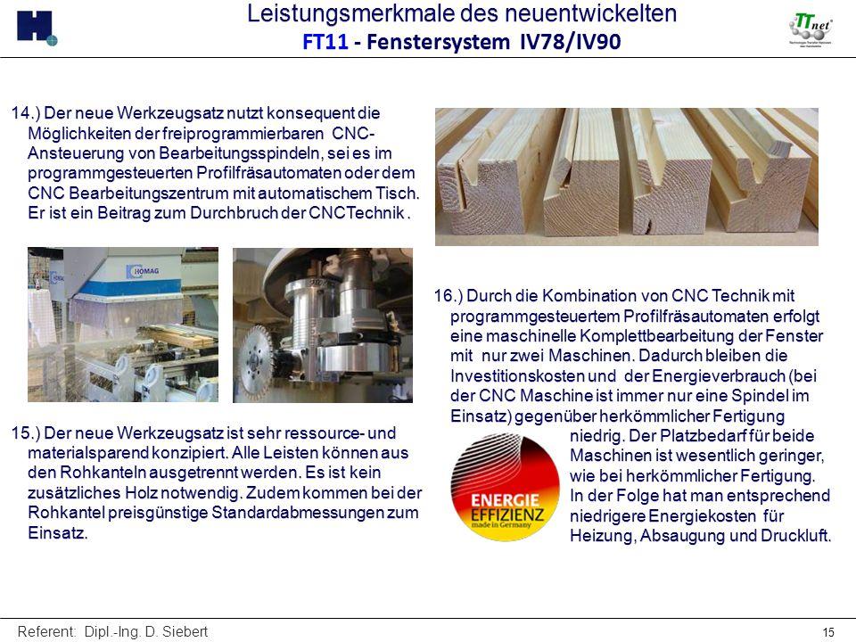 Referent: Dipl.-Ing. D. Siebert 15 14.) Der neue Werkzeugsatz nutzt konsequent die Möglichkeiten der freiprogrammierbaren CNC- Ansteuerung von Bearbei