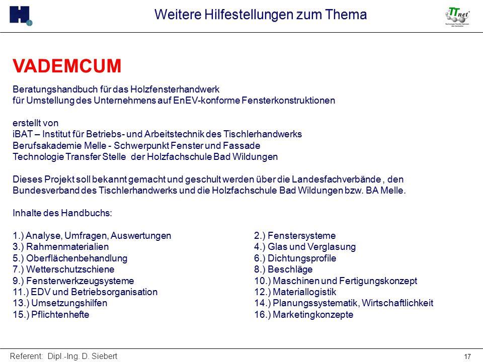 Referent: Dipl.-Ing. D. Siebert 17 VADEMCUM Beratungshandbuch für das Holzfensterhandwerk für Umstellung des Unternehmens auf EnEV-konforme Fensterkon
