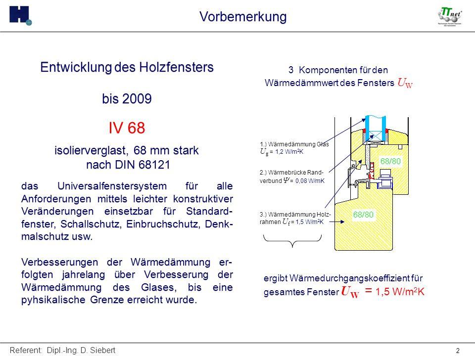 Referent: Dipl.-Ing. D. Siebert 2 Entwicklung des Holzfensters bis 2009 IV 68 isolierverglast, 68 mm stark nach DIN 68121 das Universalfenstersystem f