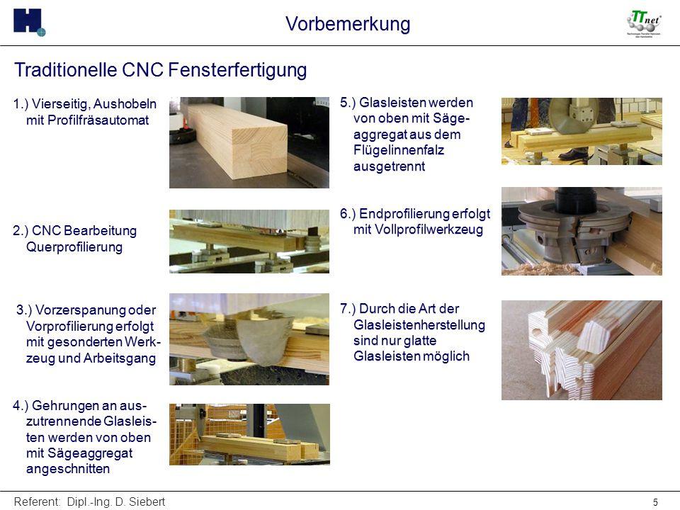Referent: Dipl.-Ing. D. Siebert 5 Traditionelle CNC Fensterfertigung 1.) Vierseitig, Aushobeln mit Profilfräsautomat 2.) CNC Bearbeitung Querprofilier