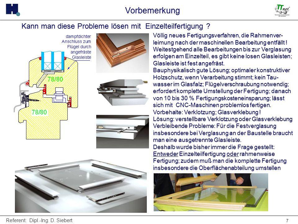Referent: Dipl.-Ing. D. Siebert 7 Völlig neues Fertigungsverfahren, die Rahmenver- leimung nach der maschinellen Bearbeitung entfällt ! Weitestgehend