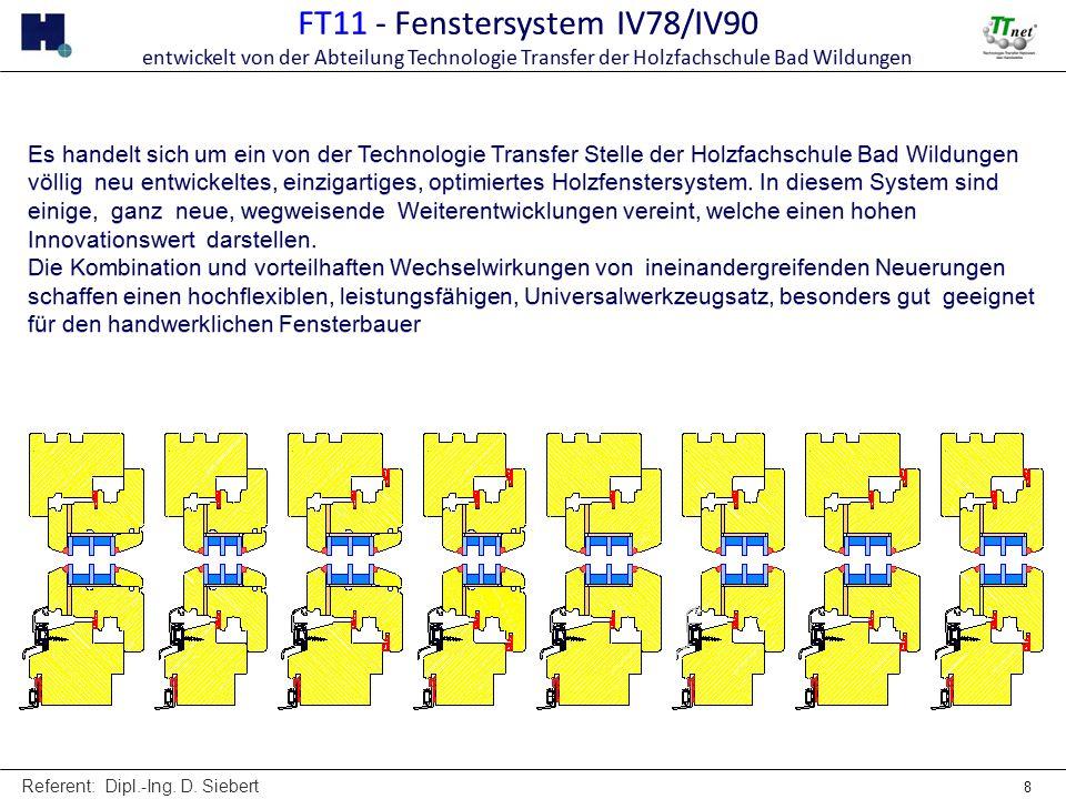 Referent: Dipl.-Ing. D. Siebert 8 FT11 - Fenstersystem IV78/IV90 entwickelt von der Abteilung Technologie Transfer der Holzfachschule Bad Wildungen FT