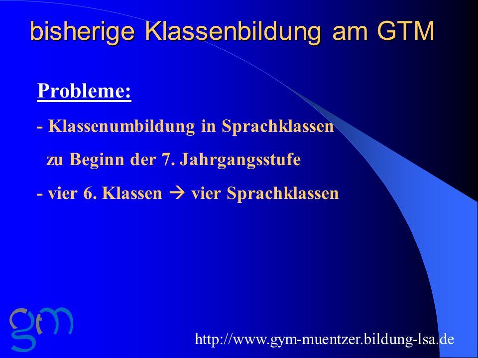 bisherige Klassenbildung am GTM Probleme: - Klassenumbildung in Sprachklassen zu Beginn der 7.
