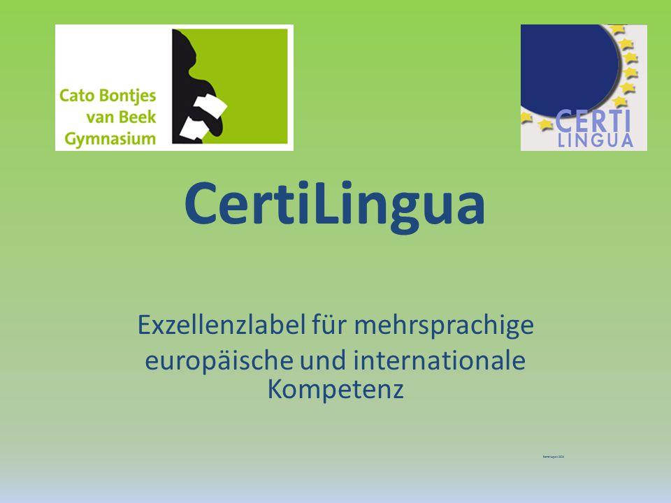 CertiLingua Exzellenzlabel für mehrsprachige europäische und internationale Kompetenz Stand:August 2013