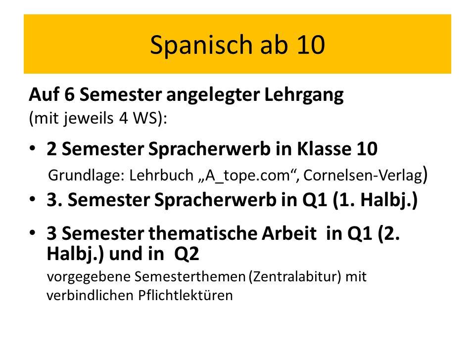 """Auf 6 Semester angelegter Lehrgang (mit jeweils 4 WS): 2 Semester Spracherwerb in Klasse 10 Grundlage: Lehrbuch """"A_tope.com"""", Cornelsen-Verlag ) 3. Se"""
