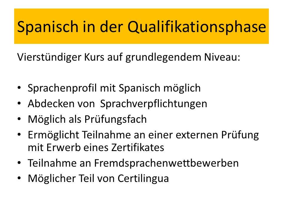 Spanisch in der Qualifikationsphase Vierstündiger Kurs auf grundlegendem Niveau: Sprachenprofil mit Spanisch möglich Abdecken von Sprachverpflichtunge