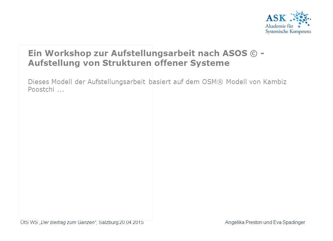 """ÖfS WS """"Der Beitrag zum Ganzen"""", Salzburg 20.04.2015 Angelika Preston und Eva Spadinger Dieses Modell der Aufstellungsarbeit basiert auf dem OSM® Mode"""