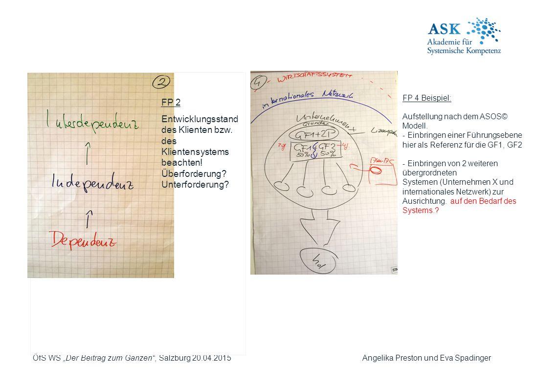 """ÖfS WS """"Der Beitrag zum Ganzen"""", Salzburg 20.04.2015 Angelika Preston und Eva Spadinger FP 2 Entwicklungsstand des Klienten bzw. des Klientensystems b"""