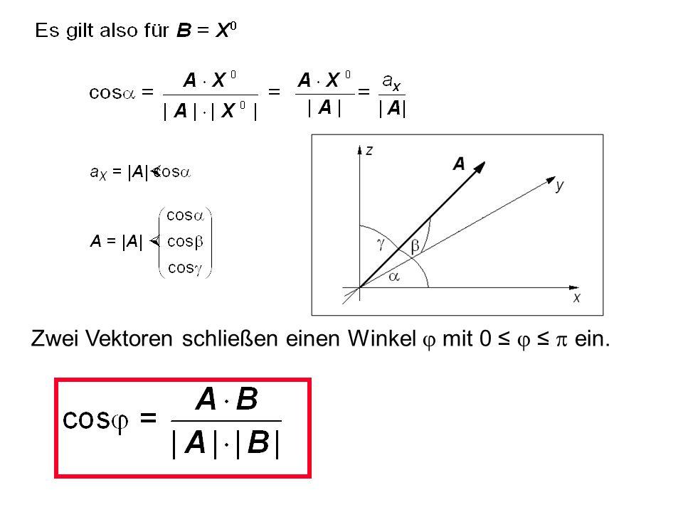 Nach dem Kosinussatz gilt |A - B| 2 = |A| 2 + |B| 2 - 2  |A|  |B|  cos  Zwei Vektoren schließen einen Winkel  mit 0 ≤  ≤  ein. A B A - B 