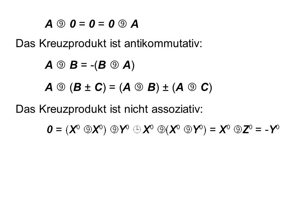 8.5 Kreuzprodukt (äußeres Produkt) 3  3  33  3  3 Zyklische Vertauschung der Indizes x  y  z  x... bzw. 1  2  3  1...