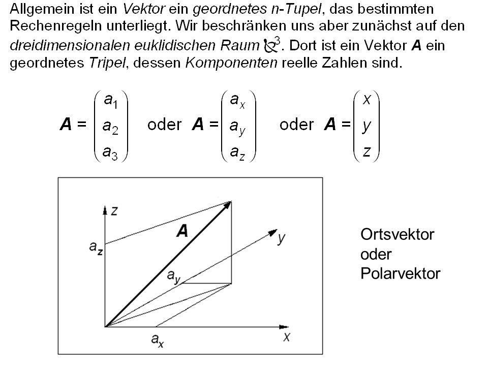 Nach dem Kosinussatz gilt |A - B| 2 = |A| 2 + |B| 2 - 2  |A|  |B|  cos  Zwei Vektoren schließen einen Winkel  mit 0 ≤  ≤  ein.