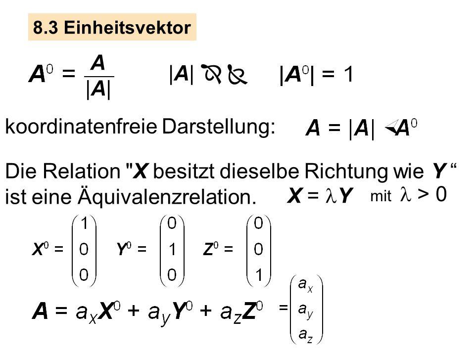 8.3 Einheitsvektor A |A| |A|   koordinatenfreie Darstellung: Die Relation X besitzt dieselbe Richtung wie Y ist eine Äquivalenzrelation.