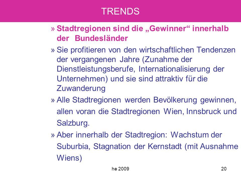 """he 200920 TRENDS »Stadtregionen sind die """"Gewinner innerhalb der Bundesländer »Sie profitieren von den wirtschaftlichen Tendenzen der vergangenen Jahre (Zunahme der Dienstleistungsberufe, Internationalisierung der Unternehmen) und sie sind attraktiv für die Zuwanderung »Alle Stadtregionen werden Bevölkerung gewinnen, allen voran die Stadtregionen Wien, Innsbruck und Salzburg."""