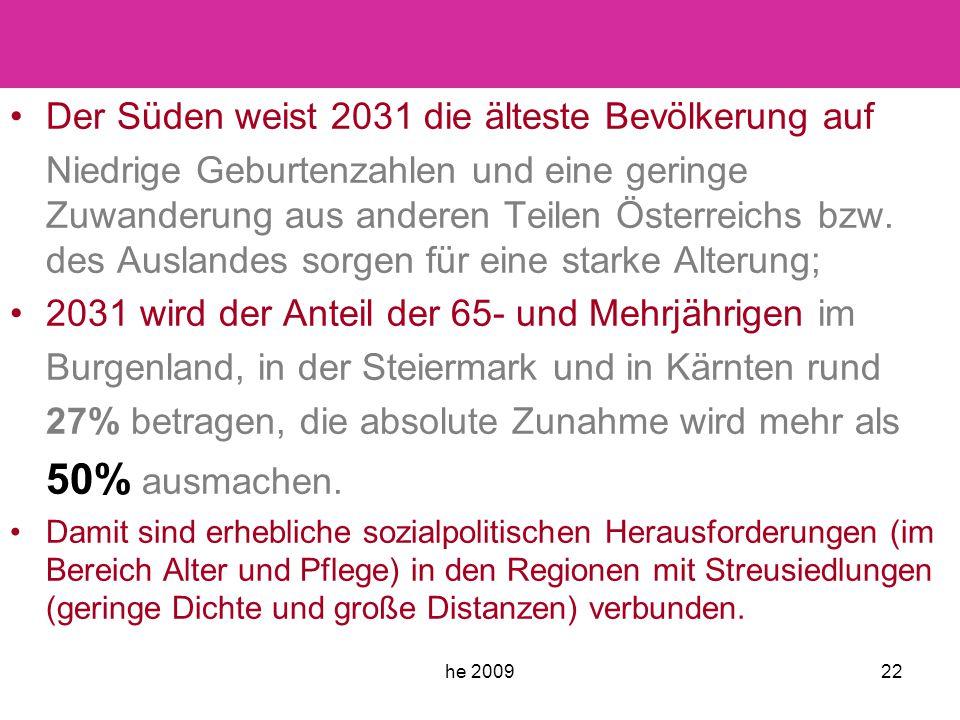 he 200922 Der Süden weist 2031 die älteste Bevölkerung auf Niedrige Geburtenzahlen und eine geringe Zuwanderung aus anderen Teilen Österreichs bzw.