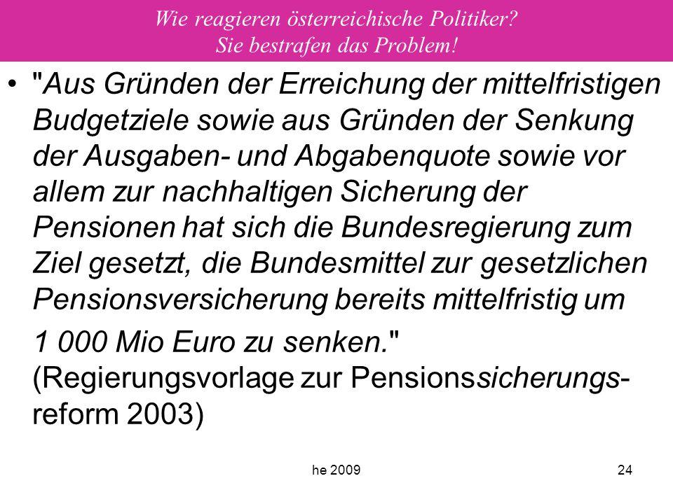 he 200924 Wie reagieren österreichische Politiker? Sie bestrafen das Problem!