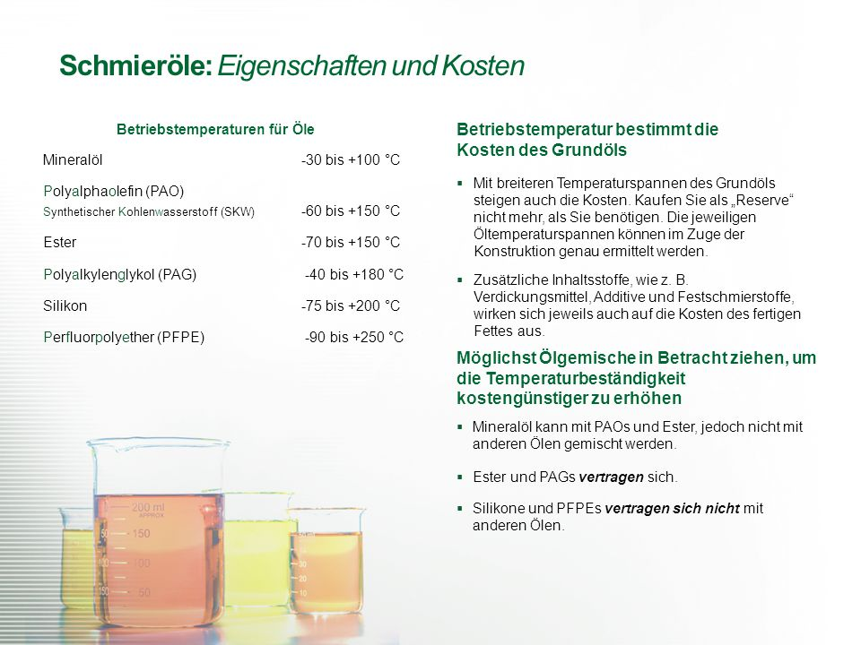 Mineralöl -30 bis +100 °C Polyalphaolefin (PAO) Synthetischer Kohlenwasserstoff (SKW) -60 bis +150 °C Ester -70 bis +150 °C Polyalkylenglykol (PAG) -4