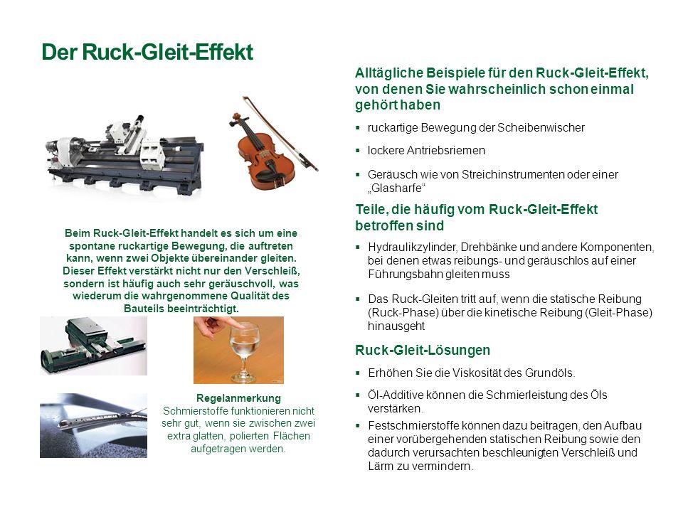 Der Ruck-Gleit-Effekt  Öl-Additive können die Schmierleistung des Öls verstärken. Alltägliche Beispiele für den Ruck-Gleit-Effekt, von denen Sie wahr