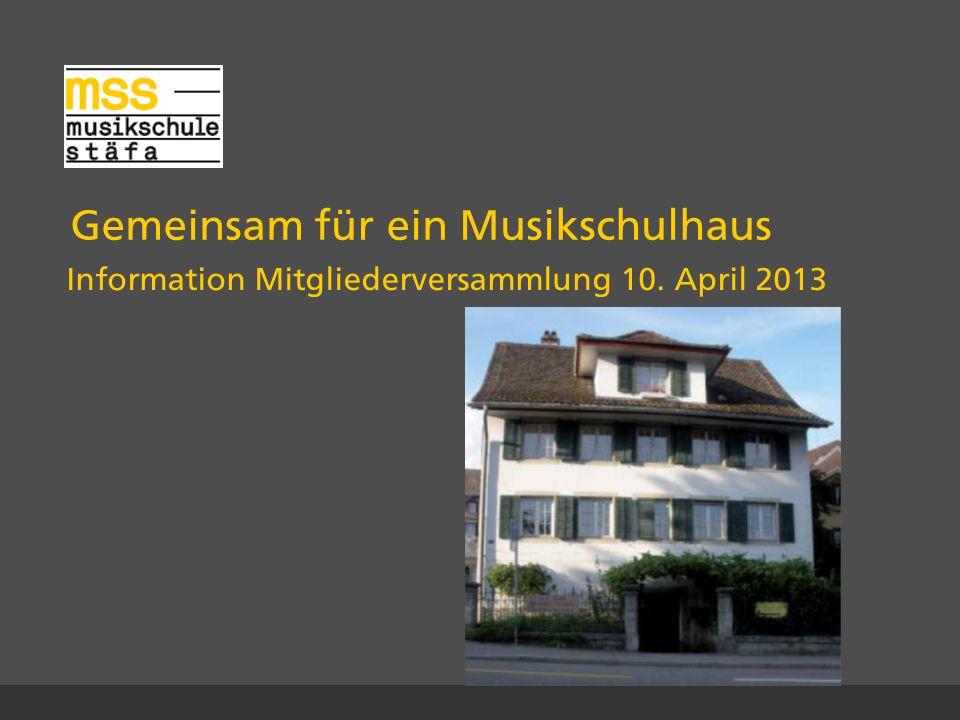 Gemeinsam für ein Musikschulhaus Information Mitgliederversammlung 10. April 2013