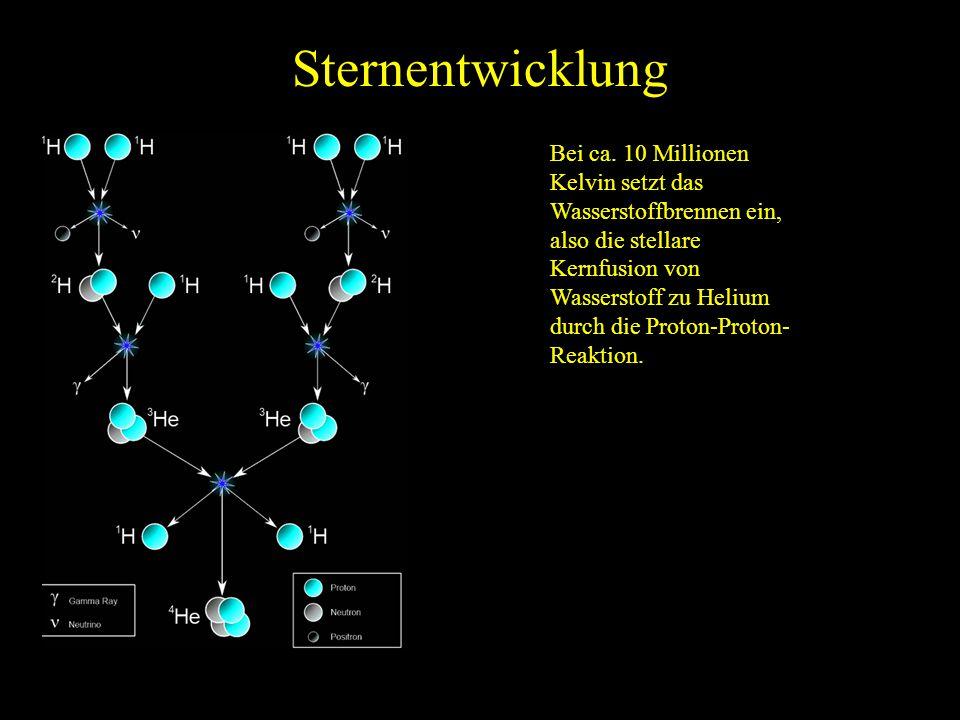 Sternentwicklung Bei ca. 10 Millionen Kelvin setzt das Wasserstoffbrennen ein, also die stellare Kernfusion von Wasserstoff zu Helium durch die Proton