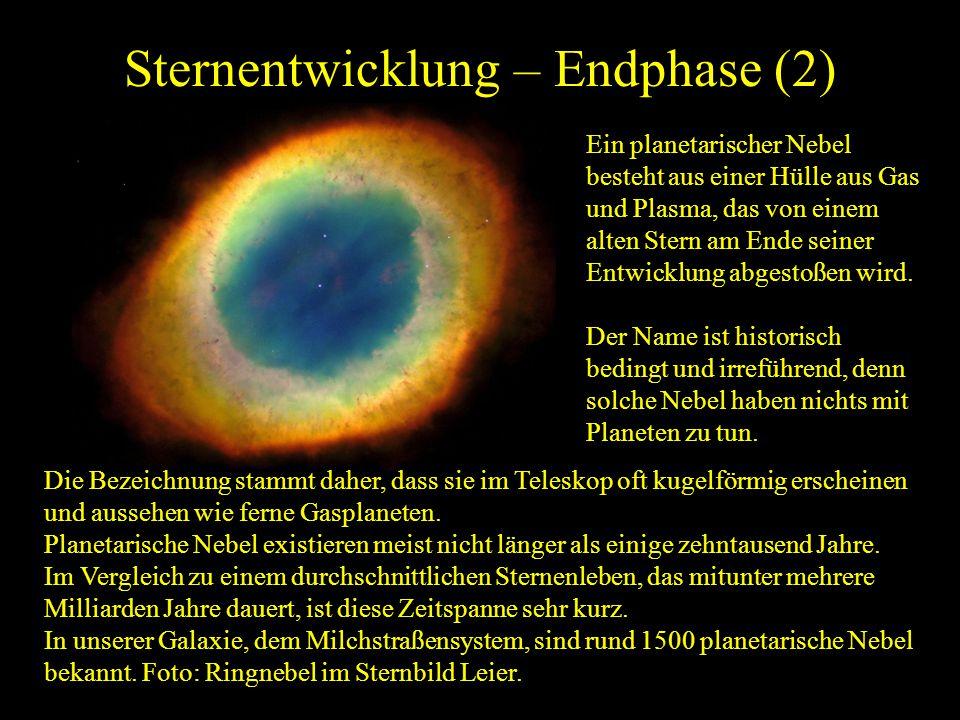 Sternentwicklung – Endphase (2) Die Bezeichnung stammt daher, dass sie im Teleskop oft kugelförmig erscheinen und aussehen wie ferne Gasplaneten. Plan