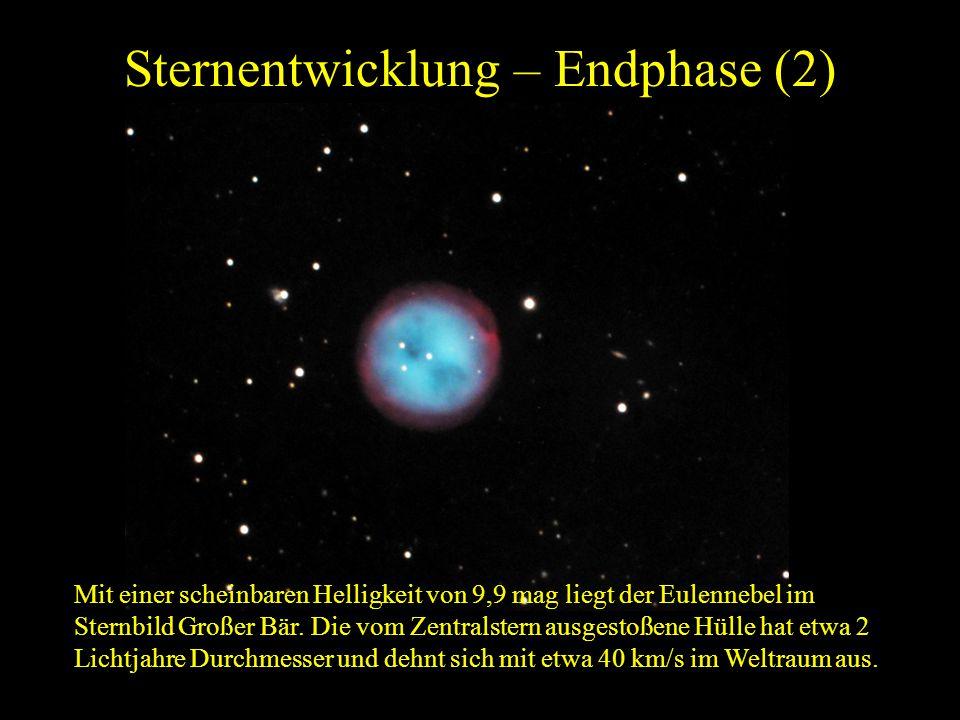 Sternentwicklung – Endphase (2) Mit einer scheinbaren Helligkeit von 9,9 mag liegt der Eulennebel im Sternbild Großer Bär. Die vom Zentralstern ausges