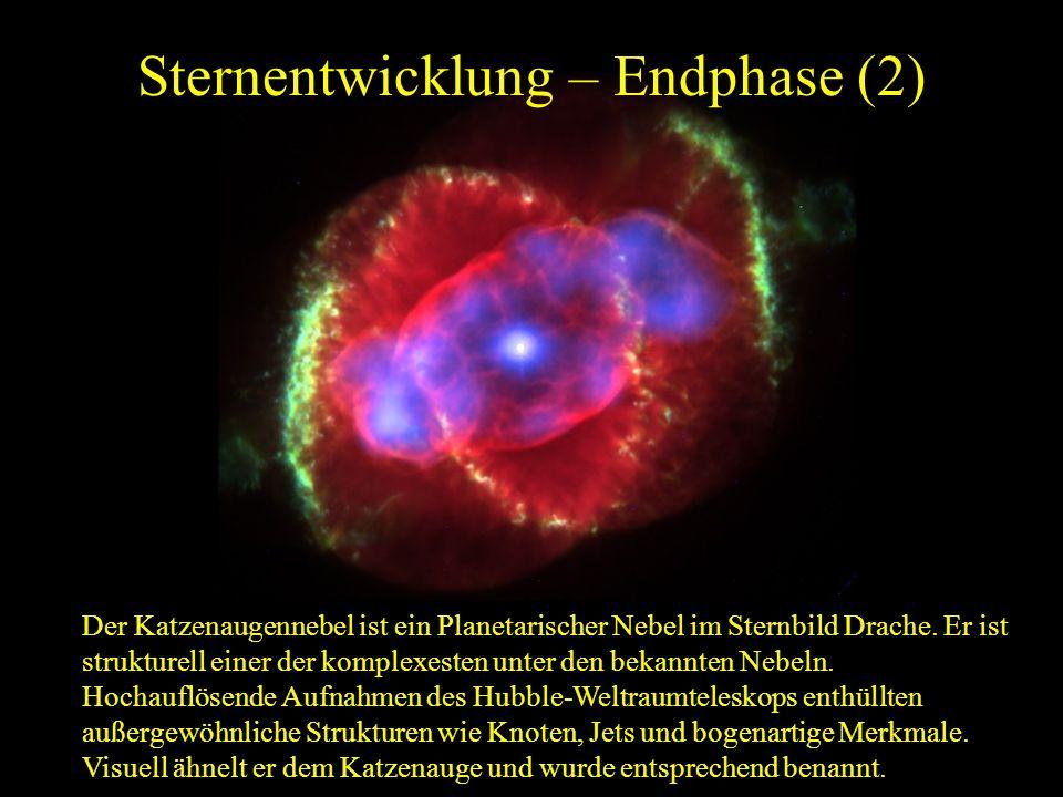Sternentwicklung – Endphase (2) Der Katzenaugennebel ist ein Planetarischer Nebel im Sternbild Drache. Er ist strukturell einer der komplexesten unter