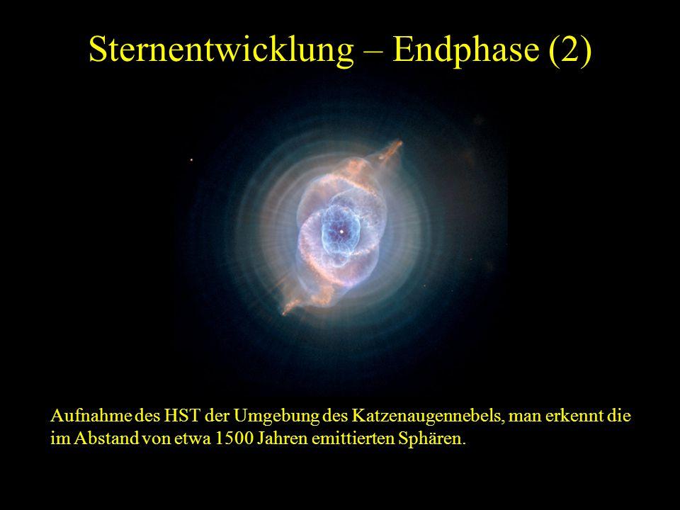 Sternentwicklung – Endphase (2) Aufnahme des HST der Umgebung des Katzenaugennebels, man erkennt die im Abstand von etwa 1500 Jahren emittierten Sphär