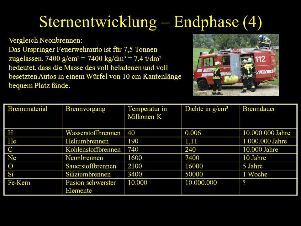 Sternentwicklung – Endphase (4) Vergleich Neonbrennen: Das Urspringer Feuerwehrauto ist für 7,5 Tonnen zugelassen. 7400 g/cm³ = 7400 kg/dm³ = 7,4 t/dm