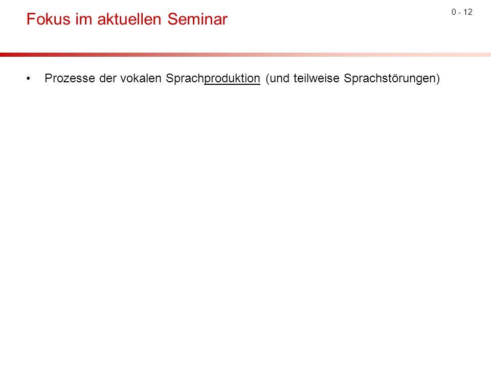 0 - 12 Fokus im aktuellen Seminar Prozesse der vokalen Sprachproduktion (und teilweise Sprachstörungen)