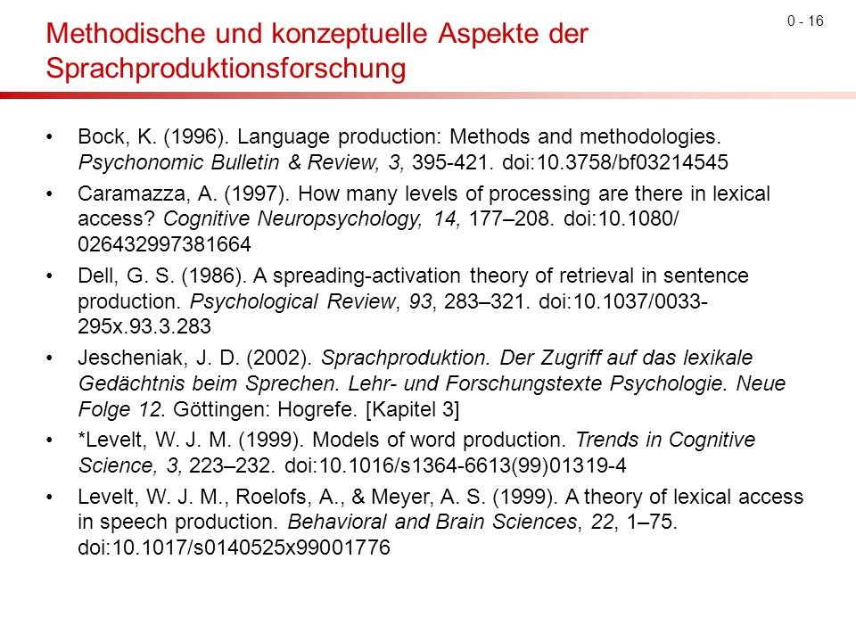 0 - 16 Methodische und konzeptuelle Aspekte der Sprachproduktionsforschung Bock, K. (1996). Language production: Methods and methodologies. Psychonomi