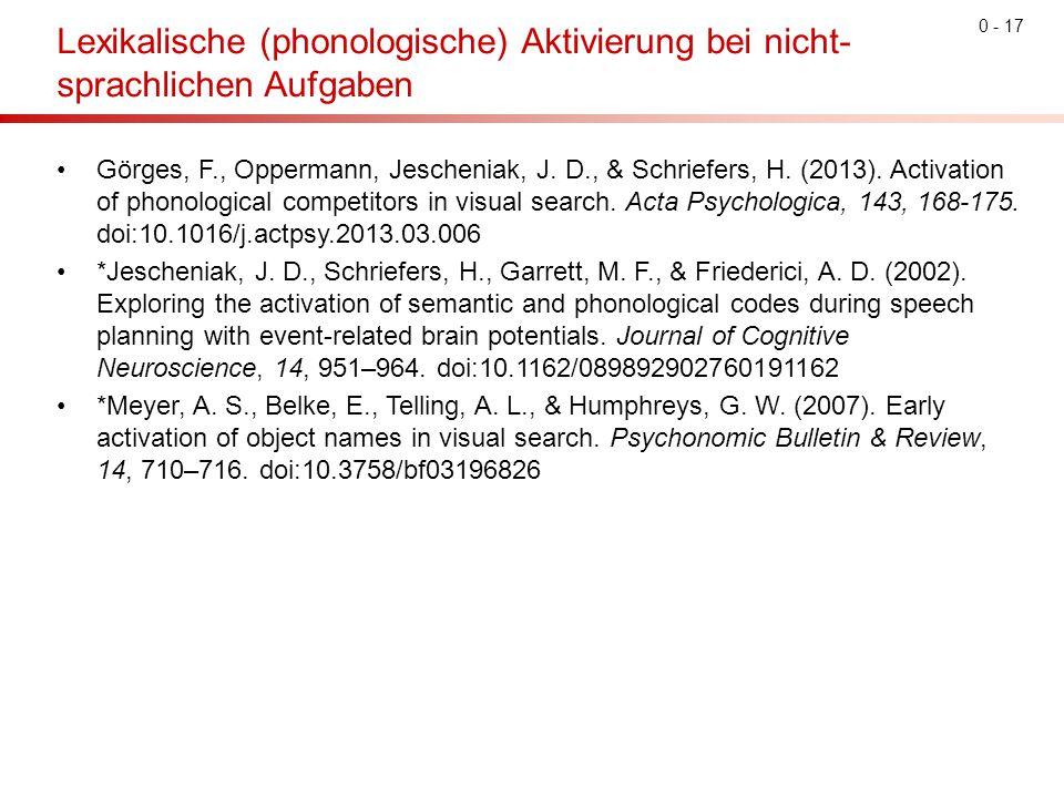 0 - 17 Lexikalische (phonologische) Aktivierung bei nicht- sprachlichen Aufgaben Görges, F., Oppermann, Jescheniak, J. D., & Schriefers, H. (2013). Ac