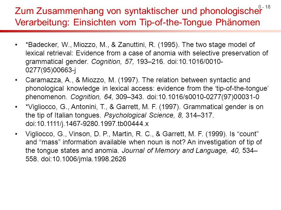 0 - 18 Zum Zusammenhang von syntaktischer und phonologischer Verarbeitung: Einsichten vom Tip-of-the-Tongue Phänomen *Badecker, W., Miozzo, M., & Zanu