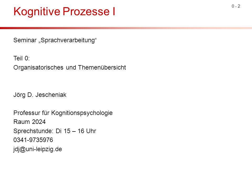 """0 - 2 Kognitive Prozesse I Seminar """"Sprachverarbeitung"""" Teil 0: Organisatorisches und Themenübersicht Jörg D. Jescheniak Professur für Kognitionspsych"""