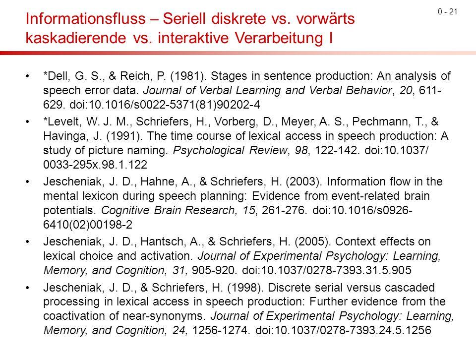 0 - 21 Informationsfluss – Seriell diskrete vs. vorwärts kaskadierende vs. interaktive Verarbeitung I *Dell, G. S., & Reich, P. (1981). Stages in sent