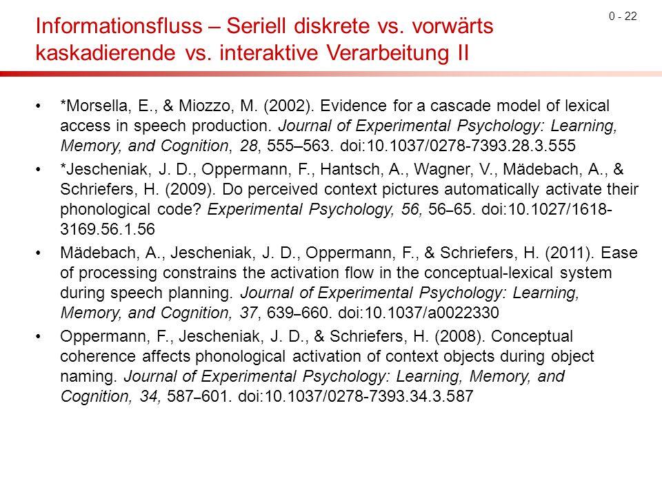0 - 22 Informationsfluss – Seriell diskrete vs. vorwärts kaskadierende vs. interaktive Verarbeitung II *Morsella, E., & Miozzo, M. (2002). Evidence fo