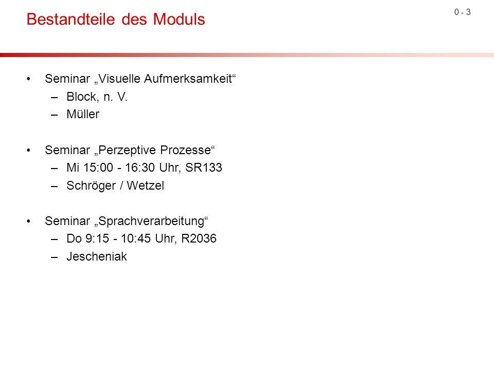 """0 - 3 Bestandteile des Moduls Seminar """"Visuelle Aufmerksamkeit"""" –Block, n. V. –Müller Seminar """"Perzeptive Prozesse"""" –Mi 15:00 - 16:30 Uhr, SR133 –Schr"""