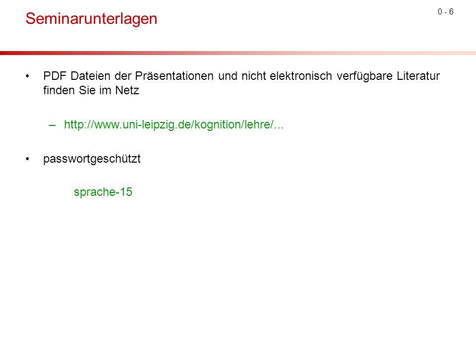 0 - 6 Seminarunterlagen PDF Dateien der Präsentationen und nicht elektronisch verfügbare Literatur finden Sie im Netz –http://www.uni-leipzig.de/kognition/lehre/...